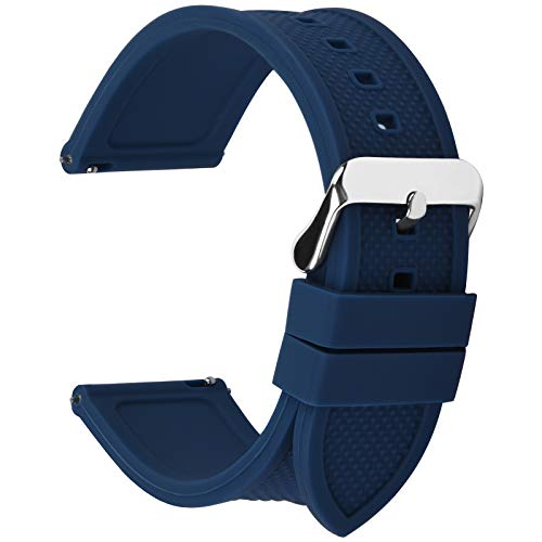 Fullmosa Silicone Rubber 20mm Watch Band,8 Colors for Rainbow Quick Release Watch Strap with Stainless Steel Buckle 18mm 20mm 22mm 24mm,Dark Blue