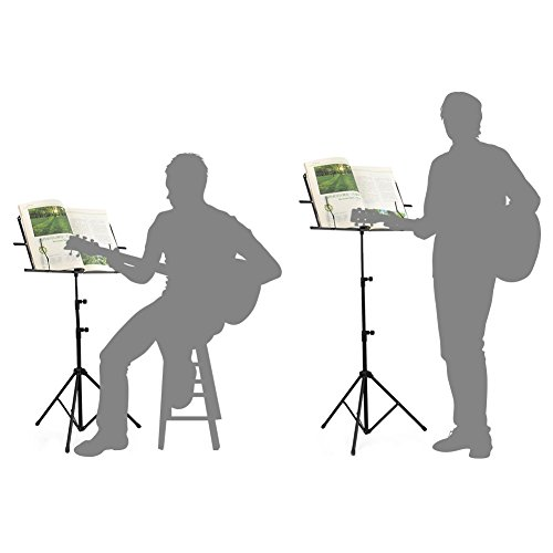 ADM Folding Adjustable Music Stand with Carrying Bag, Portable Metal Holder for Sheet Music, Black by ADM (Image #4)