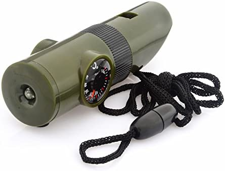 Emergency Survival Gear 7In 1 Multi-Function Whistle With Compass Thermometer