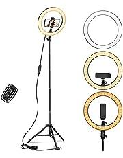 """10 """"ringlicht met 67"""" statief, LED-verstelbaar ringlicht met afstandsbediening en telefoonhouder, statieflicht voor selfie, livestream, make-up, foto, compatibel met iPhone en Android"""