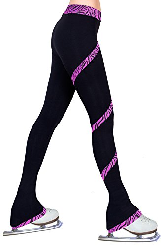 - ny2 Sportswear Figure Skating Spiral Polartec Polar Fleece Pants (Zebra Roxy Fuchsia, Child Extra Small)