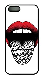 White Case for iPhone 5 5S,Red Lips and Texture Tongue Case Cover for iPhone 5 5S,Hard Black PC Case Skin for iPhone 5 5S