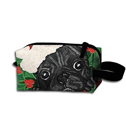 Pug Dog Christmas Puppy Clip Art Portable Storage Pouch Bag Handbag (Clipart Christmas Holly)