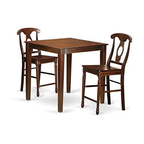 East West Furniture VNKE3-MAH-W 3 Piece Counter Height Pub Table and 2 Kitchen Bar Stool Set - Mahogany Walnut Bar Stool