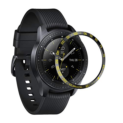 ANCOOL Compatible Samsung Galaxy Watch 42mm/Gear Sport Bezel Ring Adhesive Cover Anti Scratch Protector Design for Galaxy Watch 42mm/Gear Sport -Black