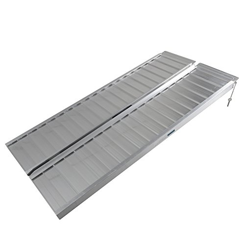 Motorhot 5 ft Portable Folding Wheelchairs Ramp Aluminum Utility Loading Ramps for Wheelchair Scooters Mobility ()