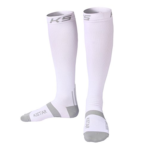 Compression Socks (1 Pair) for Men &Women, Medical Grade,Leg Support and Relief Calf Pain,Prevent Swelling, Best For Athletic Sports, Nurses ,Traffic police& Maternity Pregnancy. (L/XL, white)