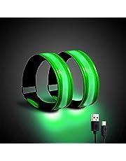 Luz de correr para corredores (2 unidades) pulsera recargable LED para correr con engranaje refectivo, banda de luz LED para corredores, moteros y caminantes