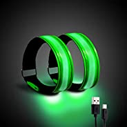 Running Light for Runners (2 Pack) Rechargeable LED Armband Reflective Running Gear, LED Light Up Band for Jog
