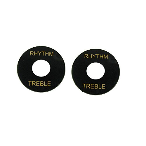 Rhythm Treble Plate Toggle Switch Washer Treble Rhythm Ring for LP Guitar, Black 2 Pack