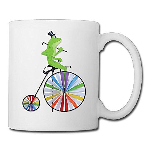 White Bicycle Wind Spinners Frog Ceramic Milk Mug 11oz Unisex Printed On Both Sides