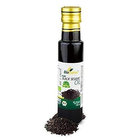 Negro aceite de sésamo orgánico certificado prensado en frío 100 ml biopurus: Amazon.es: Salud y cuidado personal