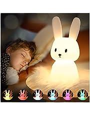 SOLIDEE Bunny Siliconen nachtlampje voor kinderen, USB-oplaadbaar, bedlampje met 7 lichtwisselingen, tap control en timingfunctie, 1200 mAh, decoratie geschenken, speelgoed, slaaplichten, nachtlampje, baby