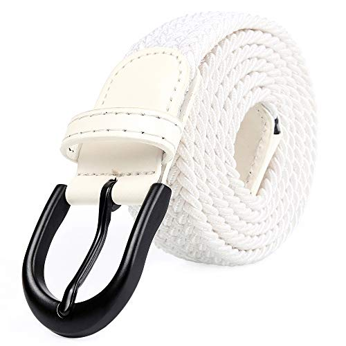 Braided Stretch Elastic Belt Pin Oval Solid Black Buckle Leather Loop End Tip Men/Women/Junior (Ivory White, XXX-Large 48