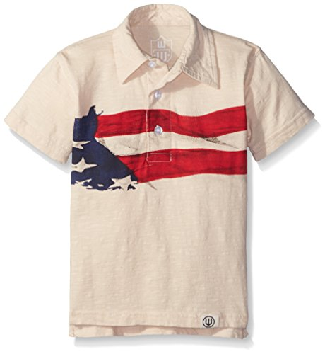 Wes and Willy Little Boys' Toddler Flag Polo, Bone Slub, ()