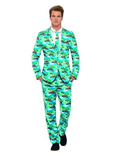 Aloha Pants - Smiffys Men's Aloha! Suit, Jacket, pants and Tie, Stand out Suits, Serious Fun, Size L, 40083