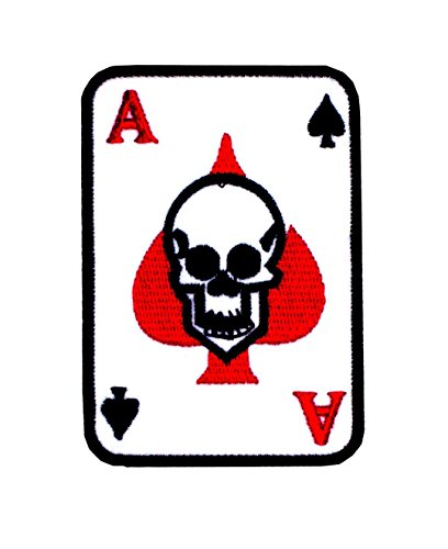 Patch Iron on Sew on Rockabilly Ace Skull 3.54 Inch / 2.36 Inch Embroidery ()