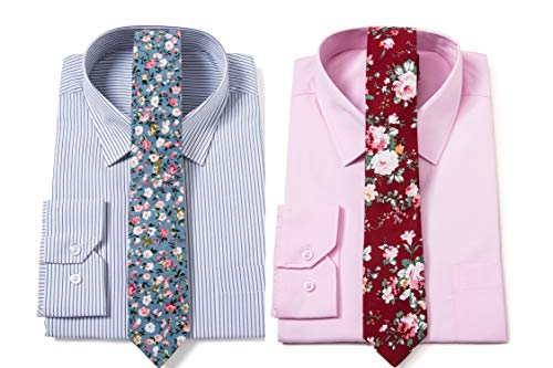 Elzama 2-pc Cotton Skinny Floral Print Tie for Special Event, Party, Wedding
