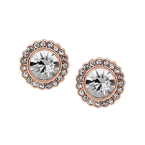 Fossil Round Earrings - Fossil Women's Round Rose Gold-Tone Brass Studs, One Size