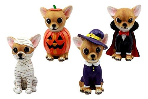 Ky & Co YesKela Halloween Costume Chihuahuas Figurine Set Of Four Vampire Pumpkin Mummy Witch