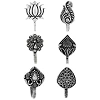 Anuradha Art Silver Oxide Finish Classy Wonderful Combo Set Press On Nose Ring/ Pin For Women/Girls