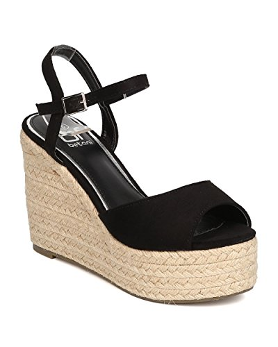 BETANI Women Faux Suede Espadrille Platform Wedge - Dressy, Spring, Party - Peep Toe Wedge GC12 by Black (Size: 7.5)