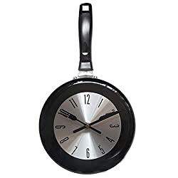 8 Inches Silent Metal Wall Clock, Frying Pan Kitchen Decoration Novelty Art Clock, Battery Operated,Black