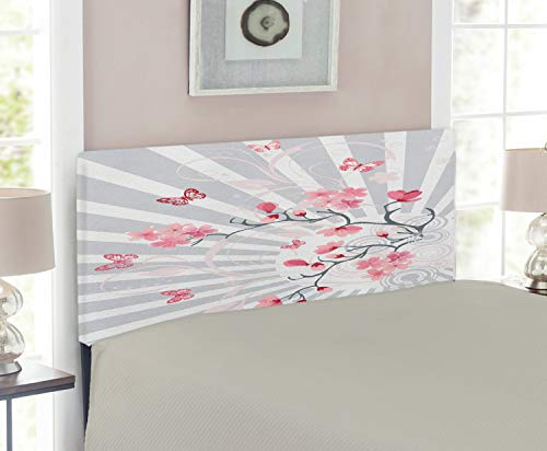 Twin Headboard Size Cherry (Ambesonne Nature Headboard for Twin Size Bed, Cherry Blooming Butterflies on Stripes Sun Rays Curvy Lines Ornamental Artwork, Upholstered Metal Headboard for Bedroom Decor, Pale Grey Pink)