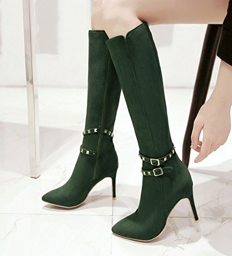 Stiletto Heel High Long Green Fashion Zip Carolbar Boots Women's Rivets Sexy IXqPnOOUY
