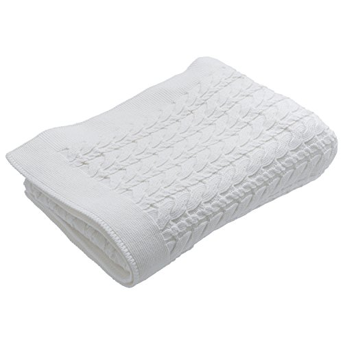 Nile Apparel (UNDER THE NILE APPAREL Unisex-Baby Infant Cable Knit Blanket 30 Inch X 42, Off White, One Size)
