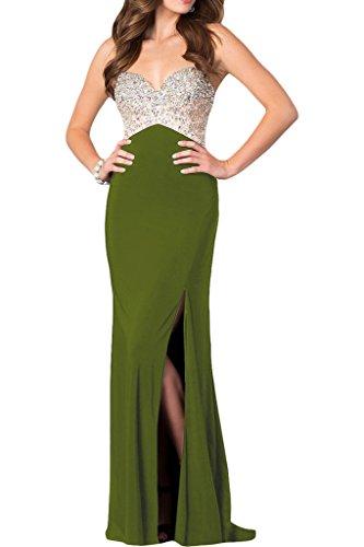 ivyd ressing Mujer de gran calidad brillantes Ranura para espaguetis Prom vestido Fiesta Vestido para vestido de noche Verde Oliva