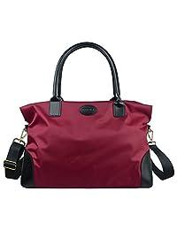 ECOSUSI Nylon Travel Duffel Bag Carry-on Weekend Overnight Tote Shoulder Handbag Soft Satchel for Women 25L