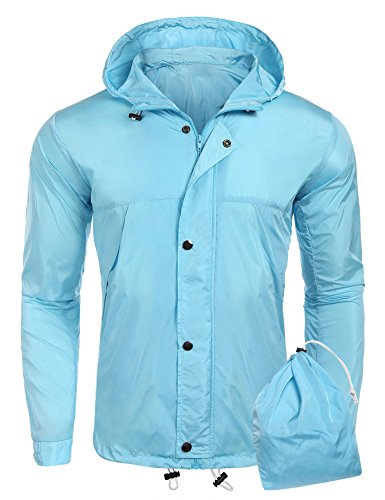 COOFANDY Unisex Lightweight Waterproof Rain Jacket Hooded Outdoor Rain Gear for Hiking Running Cycling