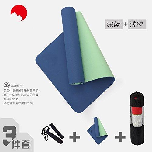 Dark bleu lumière vert 8Mm( Beginner) YOOMAT Tapis Yoga Tpe10mm de grand Extension épais Starter Sports Fitness Pad 3-Pièces Tapis de Yoga Anti-Slip57783