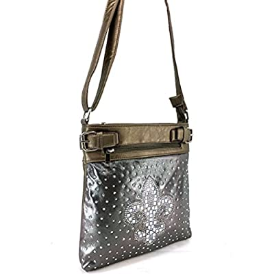 Justin West Concealed Carry Shiny Bling Gleaming Rhinestone Glass Fleur De Lis Messenger Cross Body Handbag Purse