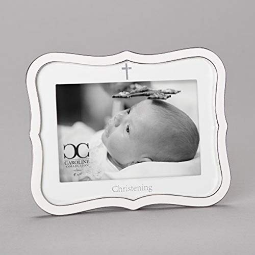 White Baby Christening Picture Frame, 6 1/2 Inch