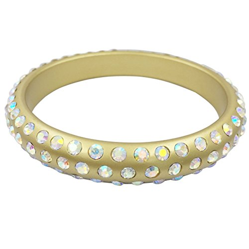 Multi Color Resin with Rhinestones Bangle Bracelet (Gold Tone with AB Iridescent)