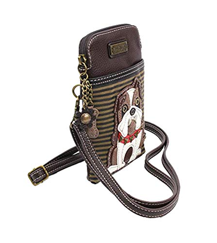 - Chala Crossbody Cell Phone Purse-Women PU Leather Multicolor Handbag with Adjustable Strap - Bulldog - Striped