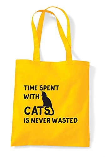 Funny Is Yellow Never With Cats Tote Wasted Spent Bag Time Shopper qwYxHt