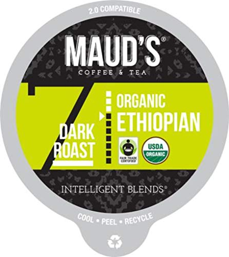 Maud's Organic Ethiopian Coffee (Dark Roast), 24ct. Recyclable Single Serve Fair-Trade Organic Single Origin Coffee Pods