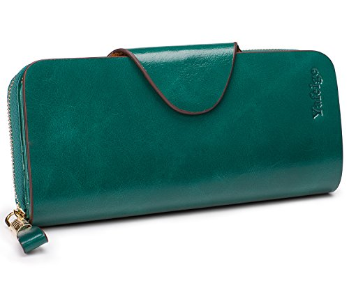 (Yafeige Large Luxury Women's RFID Blocking Tri-fold Leather Wallet Zipper Ladies Clutch Purse(1-Waxed Peacock Green))