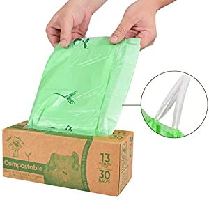 Biodegradable Compostable BPI Certified Drawstring Trash Bags 13 Gallon 49.2 liter capacity; 60 Count Strong Thick Waterproof Home Europe OK Compost California 107