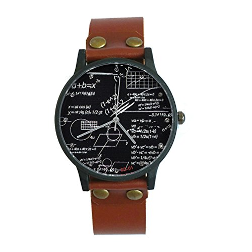 Student Watch Mathematical Formula Watches for Science Students Genuine Leather Band Mens Watch Gift in ()