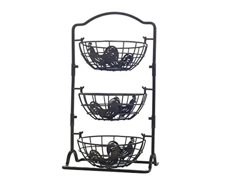 Gourmet Basics by Mikasa 5217598 Rooster 3-Tier Metal Fruit Storage Basket, Countertop, Antique Black (Hanging Rooster)