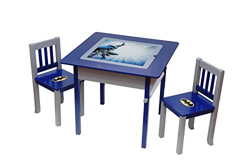 O'Kids Batman Deluxe 4-in-1 Flip Top Multi-Function Wooden Activity Table and Chair Set ()