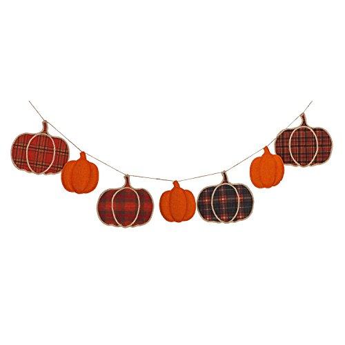 Evergreen Plaid Pumpkins Seasonal Décor Banner -