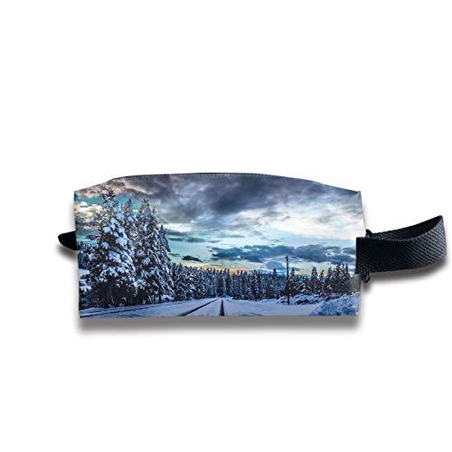 Clash Durable Zipper Wallet Makeup Handbag With Wrist Band Winter Snow Railroad Toiletry -