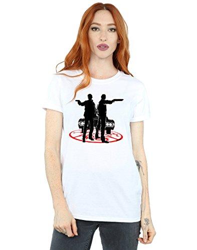 Supernatural Women's Sam and Dean Silhouette Boyfriend Fit T-Shirt Large White