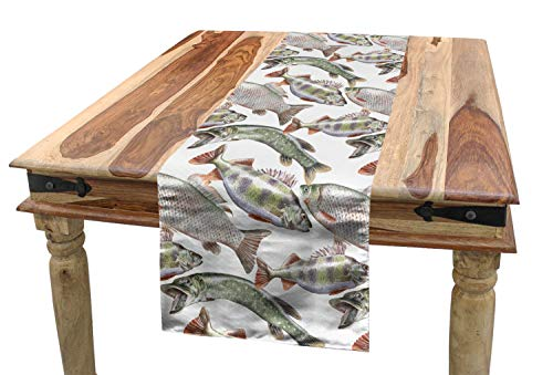 Ambesonne Fishes Table Runner, Watercolor Common Carp Perch and Bass Freshwater Animals Themed Seafood Drawing, Dining Room Kitchen Rectangular Runner, 16