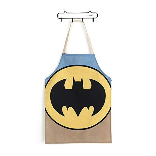 (Yolopark Kids Apron Lovely Cotton and Linen Child Apron, Creative and Anti-fouling Artist Apron Kitchen Cooking Chef Housekeeping Apron (Batman))